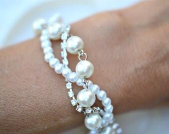 Flower Girl Bracelet, Bracelet for Flower Girl, Pearl Rhinestone and Ribbon Flower Girl Bracelet, Wedding Bracelet for Flower Girl