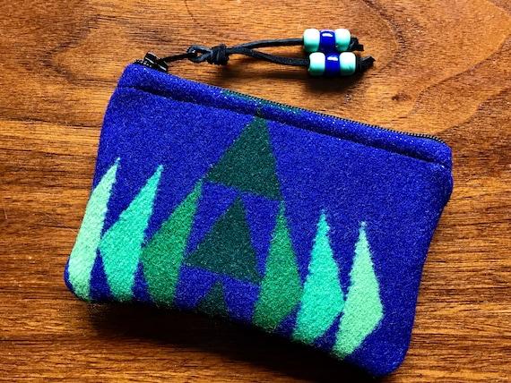 Wool Coin Purse / Phone Cord / Gift Card Holder / Zippered Pouch XL Sapphire Blue & Green