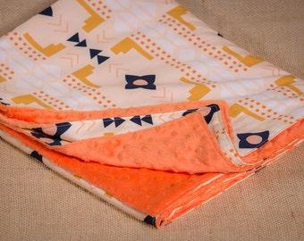 SALE! - Blanket Coral Tribal Print. Minky Blanket. Peach Crib Blanket. Tribal Baby Blanket. Orange Blanket.