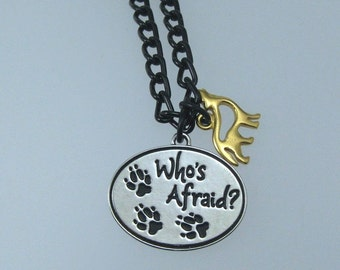Who's Afraid Wolf Charm Necklace, Wolf Pendant, Big Bad Wolf, Paw Print Pendant, Gold Wolf Charm, Little Red Riding Hood, Gift for Her
