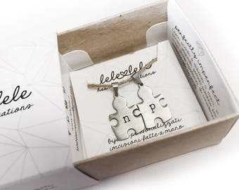 Pair of steel-shaped customizable puzzle pendants with engraving initial letters made by hand-Valentine's Day gift
