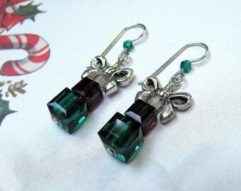 Christmas Present Earrings, Holiday Earrings, Swarovski Earrings, Green Earrings, Red Earrings, Present Earrings, Christmas Jewelry, Dangle