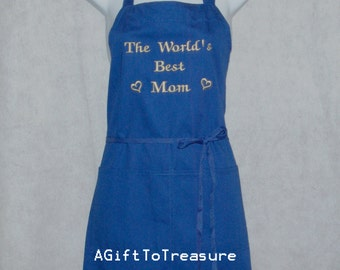 Mom Apron, Mommy, Momma, Worlds Best, Full, Long, Bib, Plus Size, Petite, Personalized With Name, No Shipping Fee, Ships TODAY, AGFT 190