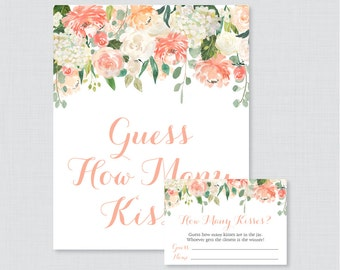 Peach Guess How Many Kisses Bridal Shower Game - Printable Floral Bridal Shower Kisses Guessing Game, Peach and Cream Kisses Guess Game 0028