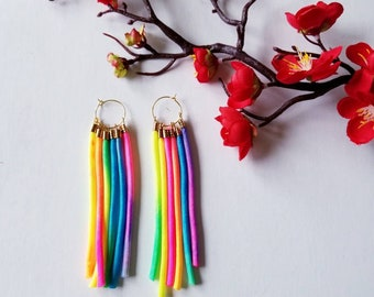 Long earrings, Colorful earrings, Cord earrings, Beautiful earrings.