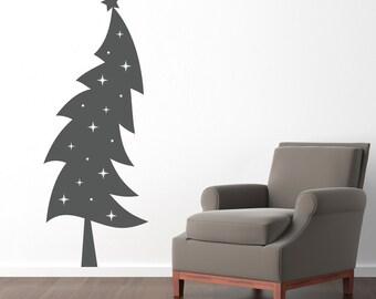 Christmas Tree Wall Decal - Holiday wall decor - Christmas Wall Art - Xmas Decor - Extra Large