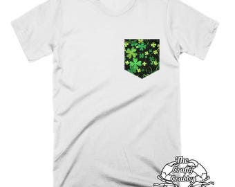 Shamrock Shirt | St Patricks Day Shirt | Pocket Tee | Funny TShirts | Mens Gift | Lucky Shirt | 4 Leaf Clover | Womens Shirts | Funny Shirts