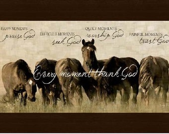 """Happy Moments Praise God Horse Beige Western Picture Framed Art  10x16"""""""