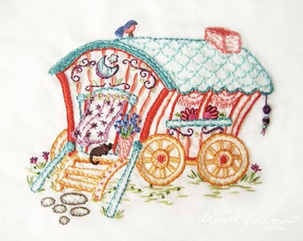 DIY Gypsy Wagon Embroidery Pattern Boho decor PDF download hand embroidery patterns designs