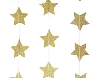 Gold Star Sparkling Garland | Photo Prop | Wedding | Graduation | Party Garland | Star Garland | 5m long | Birthday Party | Baby Shower