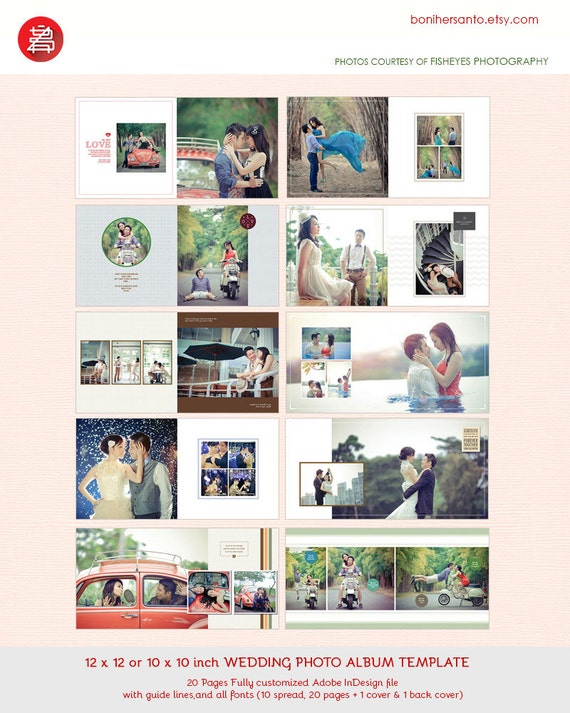 20 Pages Wedding Photo Album Template Design 12x12 chic and