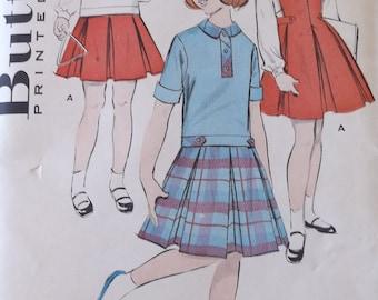 Butterick 8821 Girls Jumper and  Blouse Pattern,Vintage Girls Jumper Pattern, 1960s Style Girls