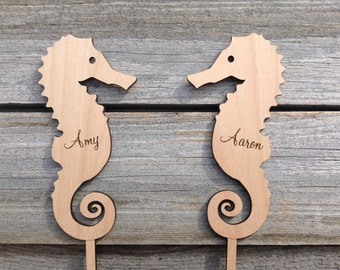 Personalized Seahorse Cake Topper Beach Wedding Decor