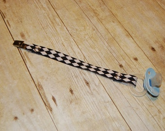 Pacifier Clip, Black & White Diamond, Personalization Available, Ready to Ship, Free USA Shipping