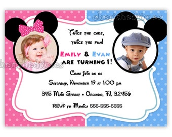 Twins or Siblings Mouse Inspired Birthday Invitation (You Print)