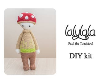 Lalylala Paul the Toadstool with red cap - DIY Crochet Kit - Crochet doll pattern -  Gift for girl  - Valentine's gift - textiles project