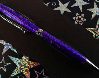 Hand Turned Purple Holographic Acrylic Pen