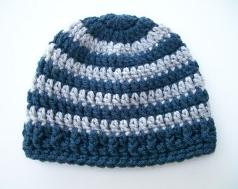 Baby Hat, Baby Beanie, 0 to 3  Months Hat, Gray and Navy Blue Baby Hat