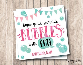 Hope Your Summer Bubbles With Fun, Personalized Printable Summer Tags, Printable End of Year Tags, School's Out Tags, Bubbles Tags