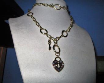 Gold tone Swarovski Key to My Heart chain necklace