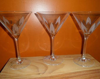 6 cocktail glasses with etching on glass customizable petals