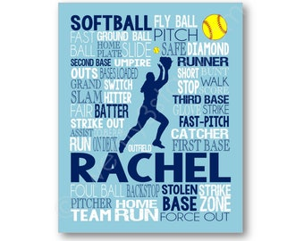 Softball Outfielder Typography Poster Print, Gift for Softball Player, Softball Team or Coach, Softball Poster