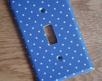 Navy Blue and White Star Handmade Switchplate