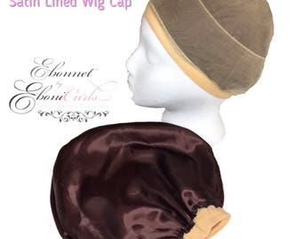 Satin Lined Stocking Wig Cap Lace Front - NUDE