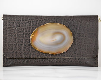 handmade brown cow leather clutch handbag with a milky brown geode crystal and chain