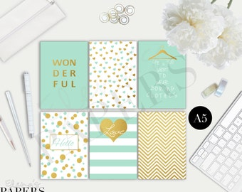 Printable A5 dividers GOLD & MINT style for your A5 planner and Franklin Covey Planner and Letter size Planner