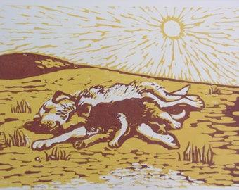 Siesta Original Woodblock Print