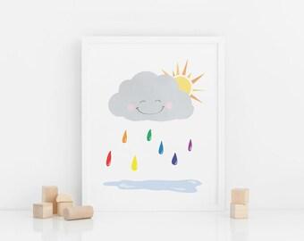 Rainbow Raincloud - Nursery Art & Wall Decor