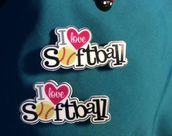 Cute  I Heart Love SOFTBALL Baseball Sports BALL Lovers Clog Shoe Charms
