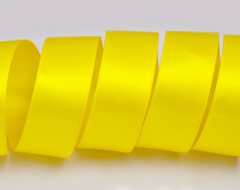 "Daffodil Yellow Ribbon, Double Faced Satin Ribbon, Widths Available: 1 1/2"", 1"", 6/8"", 5/8"", 3/8"", 1/4"", 1/8"""