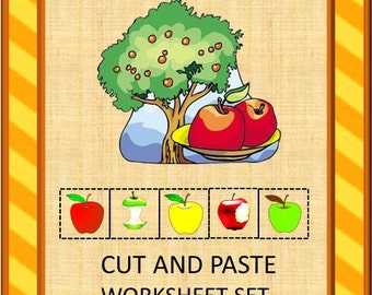 Teaching Materials, Instant Printable, Back to School, Home School, An Apple a Day Cut and Paste Worksheet Set-Pre-K, K, Special Edu,Autism