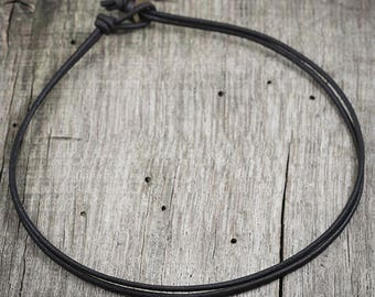Mens Leather Necklace, Plain Leather Necklace, Dark Brown Leather Cord, Double Strand, Simple, Layering, Surf, Masculine