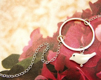 white dove necklace, bird charm necklace, hand hammered sterling silver circle, mother of pearl white dove necklace