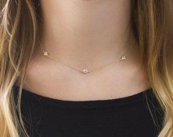 Choker Necklace, Gold Dainty  Choker, Crystal Gold Choker, Delicate Bohemian Choker, Layering Gold Necklace, Tiny Crystal Necklace N062-G