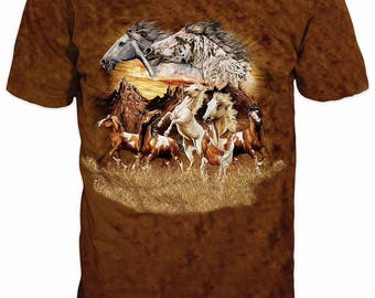 Beautiful 3D Horse Steed Mustang Sublimation Men T-shirt