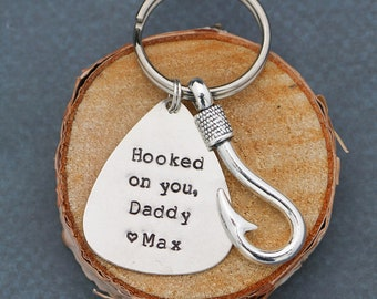 Dad Gift Fisherman Fish Hook Daddy Keychain • QQQ • Fly Fishing Hook New Dad Gift Grandpa Keychain Gift Son Father Gift • Fun Dad Gift