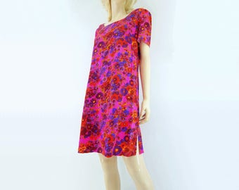 60s Shift Dress Psychedelic Dress Hawaiian Dress 1960s Shift Dress Floral Print Dress 60s Mini Dress m