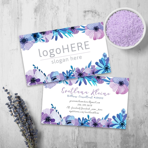 Essential Oils Business Cards Lilac Flowers Style Free