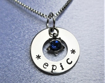 Epic Stainless Steel Hand Stamped Pendant with Chain