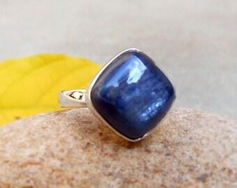 Natural kyanite Sterling silver Ring kyanite cushion Ring September Birthstone Kyanite Gemstone Jewelry Ice Blue Kyanite Ring 4 5 6 7 8 9