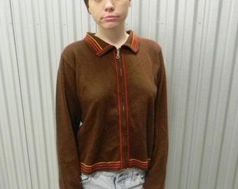 RARE 1970's Brown Zip Up Sweater