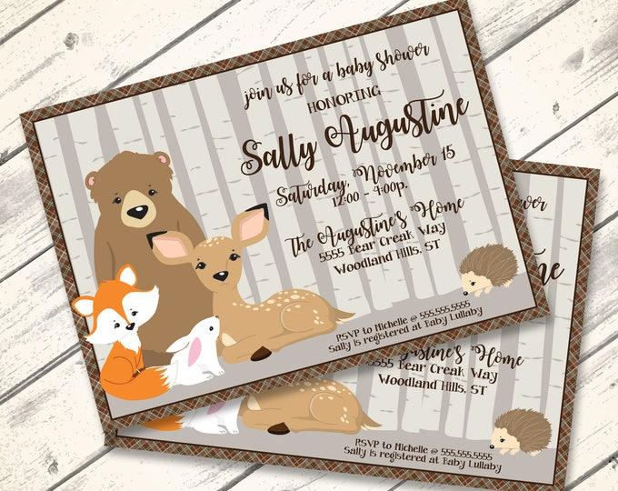 Woodland Shower Invitation, Baby Shower, Woodland Animals, Bear,Fox,Deer, Forest | Editable Text - Lndscp DIY Instant Download PDF Printable