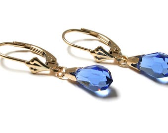 Solid 9ct Gold Blue Swarovski elements Lever Back Drop earrings with FREE gift box D25NFS