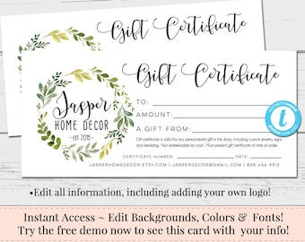 Gift Certificates Etsy - Diy gift certificate template