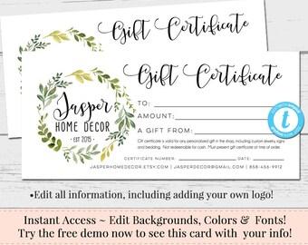 Editable Gift Certificate, Voucher, Printable Gift Cert, DIY Gift  Certificate, Instant Download