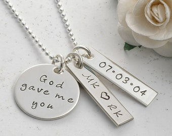 God gave me you, Personalized hand stamped necklace